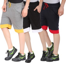 Checkers Bay Solid Men's Grey, Black, Dark Blue Sports Shorts