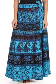 Soundarya Printed Women's Wrap Around Blue Skirt