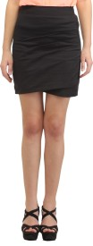 Scorpius Solid Women's Pencil Black Skirt