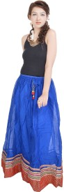Surji International Striped Women's Broomstick Blue Skirt