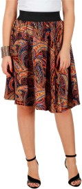 GraceDiva Paisley Women's Gathered Brown Skirt