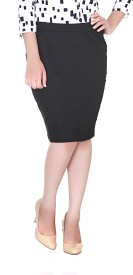 Adyuth Solid Women's Pencil Black Skirt