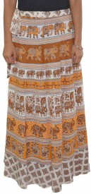 BuyNewTrend Printed Women's Wrap Around Beige Skirt