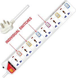 MX 3536 6 Sockets Universal Surge Protector With Individual Switch (1.5 Mtrs)