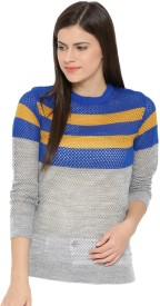 Mast & Harbour Striped Round Neck Casual Women Blue, Grey Sweater