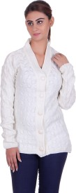 eWools Self Design V-neck Casual Women White Sweater