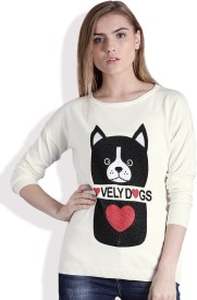 Kook N Keech Printed Round Neck Casual Women White Sweater