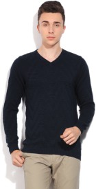 Pepe Jeans Self Design V-neck Casual Men Dark Blue Sweater