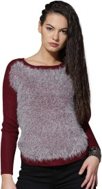 Roadster Self Design Round Neck Casual Women Grey, Maroon Sweater