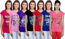 IndiWeaves Graphic Print Women's Round Neck Multicolor T-Shirt(Pack of 7)