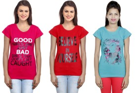 IndiStar Printed Women's Round Neck Pink, Red, Blue T-Shirt(Pack of 3)