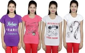 IndiWeaves Printed Women's Round Neck Multicolor T-Shirt(Pack of 4)