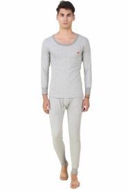 HAP Kings Light Grey Quilted Thermal Set Men's Top - Pyjama Set