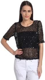 Vero Moda Casual Short Sleeve Self Design Women's Black Top