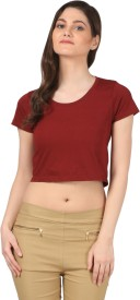 FashionExpo Casual Short Sleeve Solid Women's Maroon Top