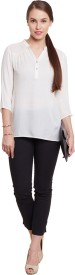 The Vanca Casual 3/4th Sleeve Solid Women's White Top