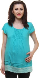 preggear Casual Cap Sleeve Solid Women's Blue Top