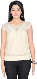 Thinc Casual Sleeveless Embroidered Women's Beige Top