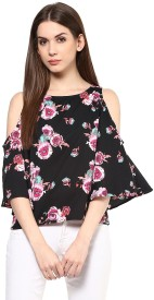 Harpa Casual 3/4th Sleeve Floral Print Women's Multicolor Top