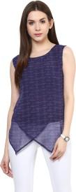 Pannkh Casual Sleeveless Printed Women's Dark Blue Top