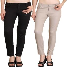 NGT Slim Fit Women's Beige, Black Trousers