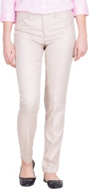 Tiger Grid Slim Fit Women's Beige Trousers