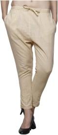 Pistaa Skinny Fit Women's Beige Trousers