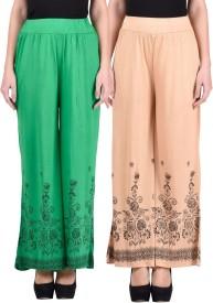 NumBrave Regular Fit Women's Green, Beige Trousers