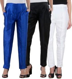 NumBrave Slim Fit Women's White, Blue, Black Trousers