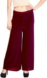 Rooliums Regular Fit Women's Maroon Trousers