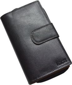 Knott Women Black Genuine Leather Wallet(18 Card Slots)