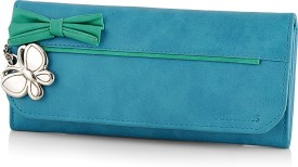 Butterflies Women Green Artificial Leather Wallet