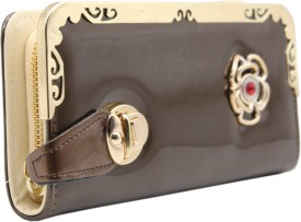 Trendy Women Brown, Gold Artificial Leather Wallet(6 Card Slots)