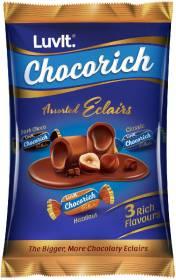 LuvIt Chocorich Assorted Eclairs Hazelnut, Dark Choco & Classic Flavours Toffee