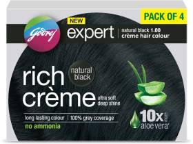 Godrej Expert Creme Hair Colour - Natural Black Pack of 4 , Natural Black