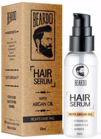 BEARDO Hair Serum, 50ml   Daily use hair serum for men with Argan Oil   Provides instant shine   Controls Frizz   Makes hair silky smooth  For All Hair Types   Paraben Free   Sulphate Free