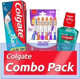 Colgate Active Salt Combo 6 Brushes, Mouthwash 250 ml, Toothpaste 300 g