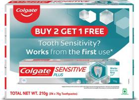 Colgate Sensitive Plus Toothpaste, With Pro Argin Formula for Sensitivity Relief, (Buy 2 Get 1 Free) Toothpaste