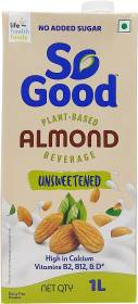So good Almond Natural Unsweetened Plant Based Beverage 1000ml Tetra Pack