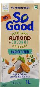 So good Almond Coconut Unsweetened Plant based Beverage 1000ml Tetra Pack