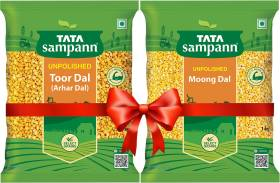 Tata Sampann Toor Dal 1 kg with Moong Dal 1 kg