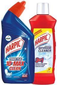 Harpic Bathroom Cleaner, Lemon - 1 Ltr. With Toilet Cleaner, Original - 1 Ltr. Lemon