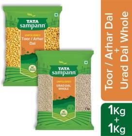 Tata Samapann Toor Dal 1 kg With Urad  Dal 1 kg