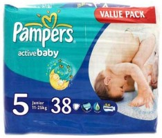 Pampers Active Baby Diapers (Size 5) - Junior - 38 (11-25Kg) (Imported) - New Born(38 Pieces)