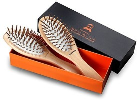 GAINWELL Wooden Bristle Hair Brush Set - 2 Pack