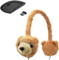 ROQ Animalz Volume Limiting Children's Wired Headphone With Wireless Optical Mouse(USB, Black ,Brown)