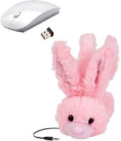 ROQ Animalz Volume Limiting Children's Wired Headphone With Wireless Optical Mouse(USB, White,Pink)