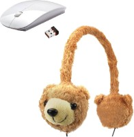 ROQ Animalz Volume Limiting Children's Wired Headphone With Wireless Optical Mouse(USB, White,Brown)