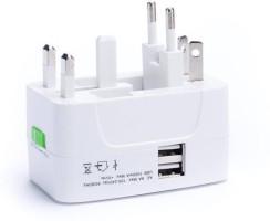 Oxza Multiplug With USB Worldwide Adaptor(White)