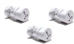 Oxza Sets of 3 All in One Round International Universal Worldwide Adaptor(White)